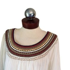 LUCKY BRAND Embroidered gauze peasant top M